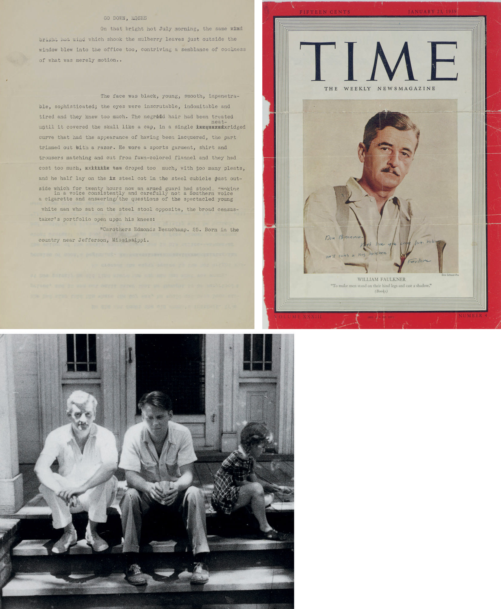FAULKNER, William. Three pages